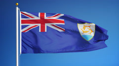 Anguilla flag in slow motion seamlessly looped with alpha - stock footage