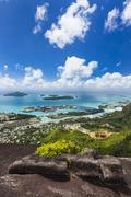 View from Mount Copolia to the islands St. Anne and Cerf near Mahe, Seychelle Stock Photos