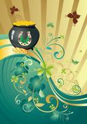Gold and Green Shamrock Background Stock Illustration