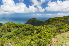 View from Mission Lodge Lookout to the southwest of Mahe, Seychelles with mou - stock photo
