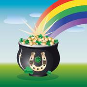 Landscape with pot of gold Stock Illustration
