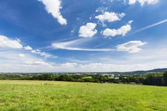Panoramic view from Berensberg down to the northern parts of Aachen with a me Stock Photos