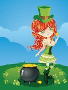 Leprechaun Girl on Grass Field Stock Illustration