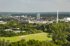 High angle view from Berensberg down to the tax office and the CHIO Bridge of Stock Photos