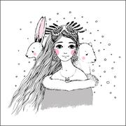 Beautiful young girl and cute bear and hare. - stock illustration