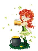 Leprechaun Girl with Beer - stock illustration
