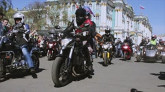 Bikers and bicycles parade and show. Night Wolves MG Russia - stock footage