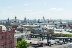 View to Downtown, Spassky tower, bell tower of Ivan the Great in Moscow. Russia Stock Photos