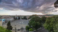 Aerial view of the large urban square, the Piazza del Popolo timelapse, Rome at Stock Footage