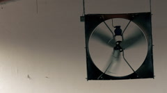 Cooling fan at barn ceiling Stock Footage