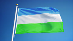 Molossia flag in slow motion seamlessly looped with alpha Stock Footage