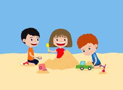 Happy children playing with sand. Building sand castle in the beach. - stock illustration