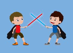 Two little boys playing with toy swords and capes. Cartoon illustration - stock illustration