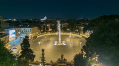 Aerial view of the large urban square, the Piazza del Popolo night timelapse Stock Footage