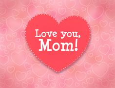Mother's day greeting card with hearts. Love you, Mom. - stock illustration