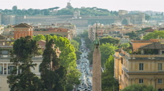 Piazza del Popolo and via Flaminia timelapse seen from Pincio terrace in Rome Stock Footage
