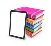Tablet on coloured books isolated on white. 3d rendering. - stock illustration