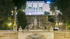 Fountain of Dea Roma timelapse in Piazza del Popolo with Pincio terrace in the - stock footage
