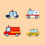 Set of cartoon cars. Police car, ambulance, firefighter truck, taxi. Stock Illustration