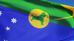 Christmas Island flag in slow motion seamlessly looped with alpha Stock Footage