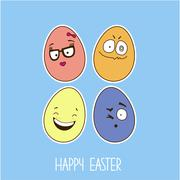 Easter greeting card with cheerful eggs - stock illustration