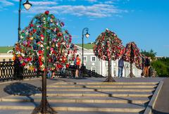 MOSCOW, RUSSIA - 21.09.2015. Trees with locks of lovers on trees at Tretyakovsky - stock photo