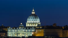 Night view at St. Peter's cathedral timelapse from the Pincio Landmark in Rome Stock Footage