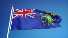 Pitcairn Islands flag in slow motion seamlessly looped with alpha Stock Footage