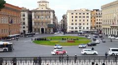 Urban traffic in Piazza Venezia in Rome - stock footage