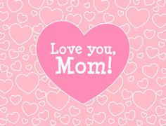 Love you, Mom. Mother's day greeting card with hearts. Stock Illustration