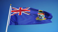Cayman Islands flag in slow motion seamlessly looped with alpha - stock footage