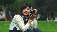 My beautiful Asian friend photogrpaher Stock Footage