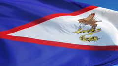 American Samoa flag in slow motion seamlessly looped with alpha Stock Footage