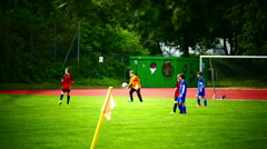 School Children Kids having a soccer game Football match Stock Footage