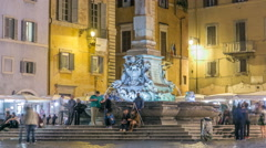 View of Rotonda square and Fountain timelapse near Pantheon at night light. Rome - stock footage
