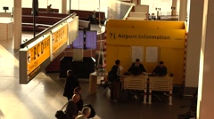 Information desk  at the airport terminal Stock Footage
