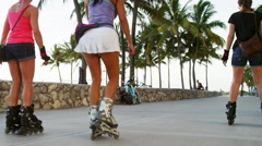 Active Women Rollerblade South Beach Miami Florida 5K Stock Video Footage Stock Footage