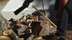 Man Chopping Wood With An Axe 09 - stock footage
