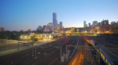 4k moving shot of trains in a modern city Stock Footage