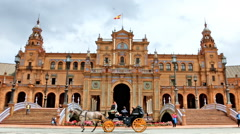 Wide shot of the main building on Plaza de Espana, Seville Stock Footage