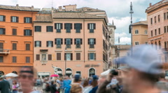The fountain of Neptune on Navona square timelapse in Rome, Italy Stock Footage