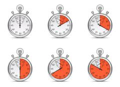 Stopwatch with different time intervals on a white background. Stock Illustration