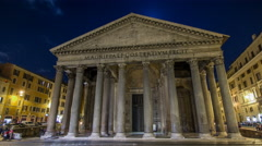 Night timelapse hyperlapse of Pantheon, ancient architecture of Rome, Italy - stock footage