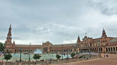Extreme wide shot of Plaza de Espana in Seville, Spain Stock Footage