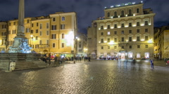 Walk down streets of Rome timelapse hyperlapse from the Pantheon to fountain - stock footage