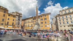 Fountain timelapse hyperlapse on the Piazza della Rotonda in Rome, Italy Stock Footage