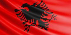 Albania flag fluttering in wind. Stock Illustration