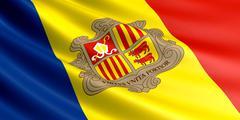 Flag of Andorra fluttering in wind. Stock Illustration