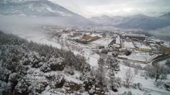 Aerial view: Snowy town. Sant Llorenç de Morunys Stock Footage
