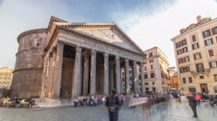Tourists visit the Pantheon timelapse hyperlapse at Rome, Italy Stock Footage